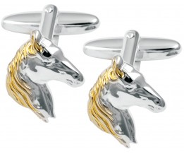 Sterling Silver And Gold Plated Horse Head Cufflinks