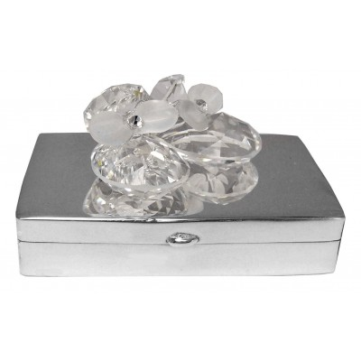 Silver Gift Crystal Shoes On Silver Pillbox