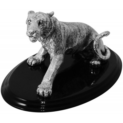 Silver Gift Galvanised 99.6 Percent Pure Silver Resin Filled Tiger On Plinth