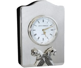 Silver Gift Miniature Quartz Clock Marcasite Set Panther