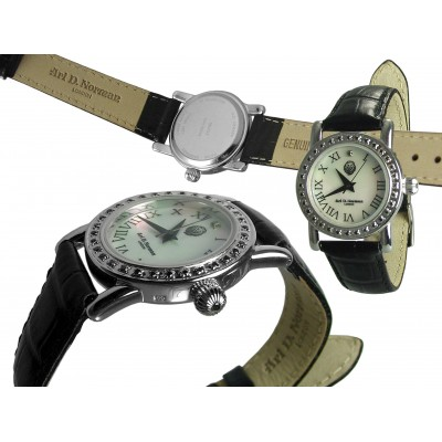 Silver Gift Mother Of Pearl Round Dial Roman Numerals Watch With Black And White Diamonds And Black Leather Strap