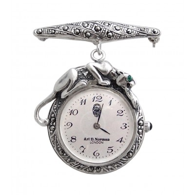 Silver Gift Nurses Watch Style Marcasite Set Panther With Emerald Eye Quartz Silver Watch