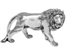 Silver Gift Galvanised 99.6 Percent Pure Silver Resin Filled Lion Figurine