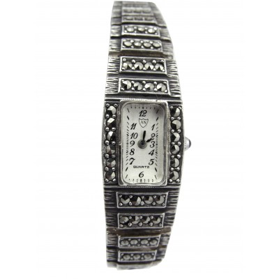 Silver Gift Rectangular Dial Marcasite Set Bracelet Watch