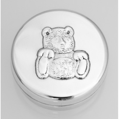 Silver Gift Silver Toothfairy Pillbox With Embossed Teddy Bear