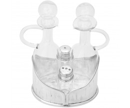 Silver Gift Cruet Set For Oil, Vinegar, Salt And Pepper