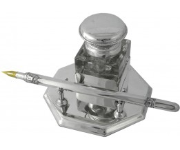 Silver Gift Edwardian Style Inkwell Octagonal Stand And Pen Set