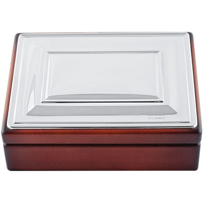 Silver Gift Mahogany Finish Trinket Keepsake Box With Plain Silver Top And Blue Velvet Interior