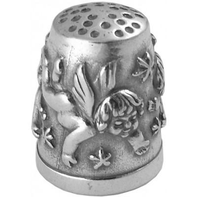 Silver Gift Thimble With Embossed Cherubs