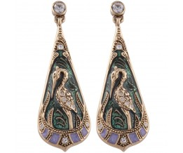 Gold Plated Art Nouveau Heron Teardrop Earrings