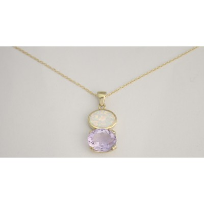 Gold Plated Silver Pendant Set With White Opal And Amethyst