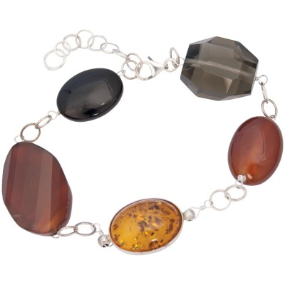 Silver Bracelet With Assorted Agates And Amber