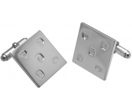 FEATURED HALLMARK SQUARE CUFFLINKS STERLING SILVER WITH TORPEDO FASTENER