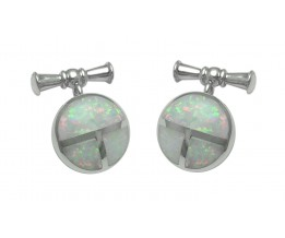 ROUND STERLING SILVER CUFFLINKS WITH CRUSHED WHITE OPAL RESIN AND TOGGLE FASTENERS