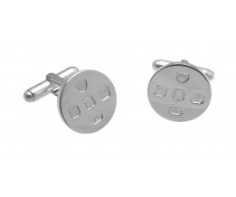 ROUND FEATURE HALLMARK SOLID SILVER CUFFLINKS WITH TORPEDO FASTENER