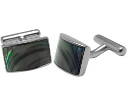 ABALONE SHELL RECTANGULAR CUFFLINKS STERLING SILVER 925 HALLMARKED