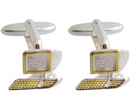 DESKTOP PC STYLED CUFFLINKS IN 925 STERLING SILVER WITH GOLD PLATE DETAIL
