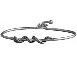 Sterling Silver Hook Clasp Bangle Bracelet With Coiled Art Deco Style Marcasite Set Silver Snake Design Feature