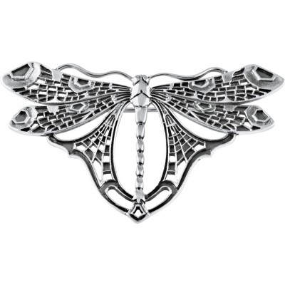 Classic Art Nouveau Style Sterling Silver Dragonfly Brooch Pin