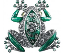 Sterling Silver Art Nouveau Frog Brooch Pin With Green Enamel And Marcasite