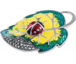 Sterling Silver Art Nouveau Ladybird On Leaf Brooch Pin Pendant With Vibrant Yellow, Green And Red Hand Painted Enamel And Sparkling Marcasite