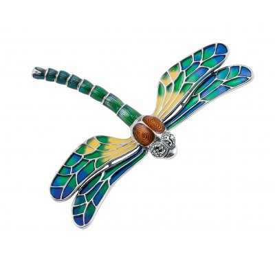 Sterling Silver Dragonfly Art Nouveau Style Brooch Pin With Marcasite And Luminescent Hand Painted Yellow, Green And Blue Enamel