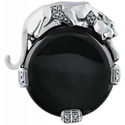 Sterling Silver Duchess Of Windsor Art Deco Inspired Marcasite And Emerald Set Panther Brooch Pin Pendant With Onyx