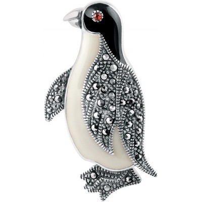 Art Nouveau Inspired Penguin Brooch Pin In Sterling Silver With Marcasite And Hand Painted Black And White Enamel Detail With A Garnet Set Eye