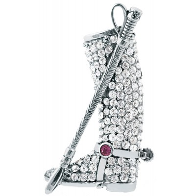 Equestrian Victorian Era Inspired Horse Riding Boot And Riding Crop Brooch Pin In Sterling Silver With Sparkling Austrian Crystals