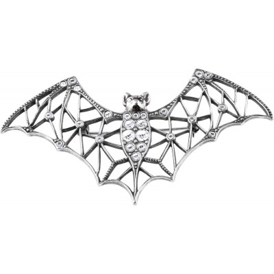 Sparkling Crystal Art Deco Sterling Silver Bat Halloween Brooch Pin