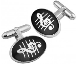 Sterling Silver And Black Enamel Treble Clef Cufflinks