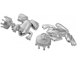 Sterling Silver Frog And Crown Cufflinks