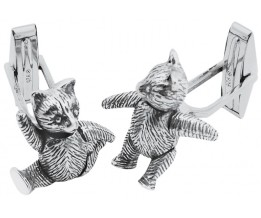 Sterling Silver Movable Teddy Bear Cufflinks