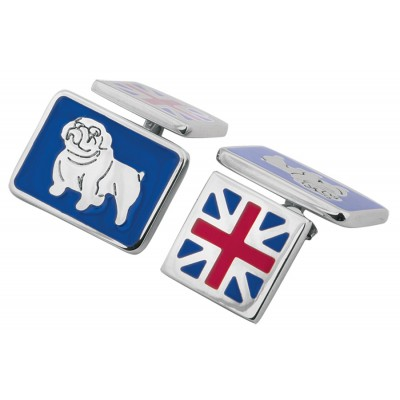 Sterling Silver Union Jack And British Bulldog Cufflinks