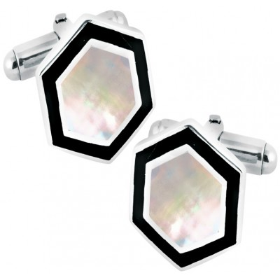 Art Deco Style Sterling Silver Cufflinks With Mother Of Pearl Feature And Black Enamel Border 1.8 x 1.6 cm