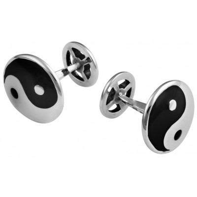 Spiritual Sterling Silver Yin And Yang Cufflinks With Black Enamel 1.7cm