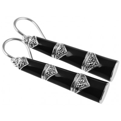 Black Enamel And Marcasite Bamboo Style Earrings Sterling Silver 925