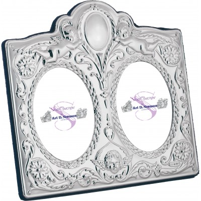 Victorian Style Double Photo Frame With Velvet Back 6cm x 8cm (x2)