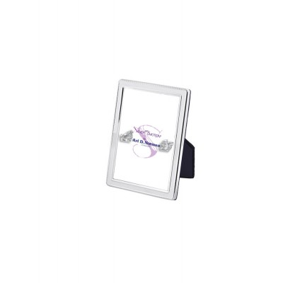 Velvet Backed Beaded Border Photo Frame  4cm x 5cm Sterling Silver