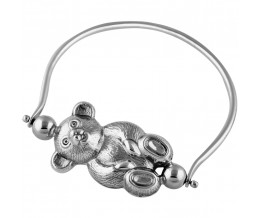 Edwardian Spinning Teddy Bear Rattle Sterling Silver