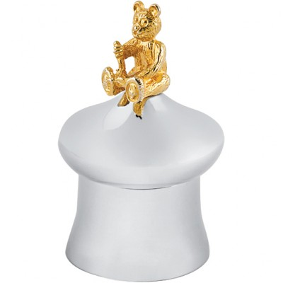 Tooth Fairy Mushroom Shape Box With Gold Plated Teddy Bear Sterling Silver
