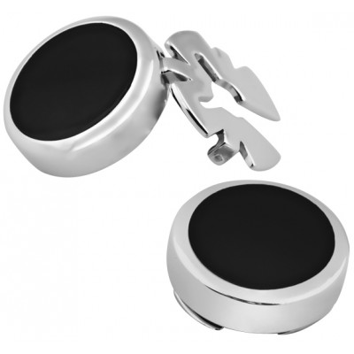 Pair Of  Black Onyx Button Covers Sterling Silver