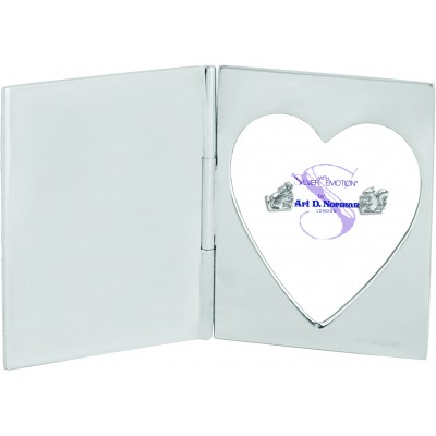 Single Heart Miniature Folding Travel Photo Frame Sterling Silver