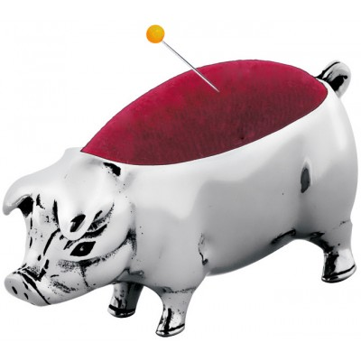 Sterling Silver Pig Pin Cushion