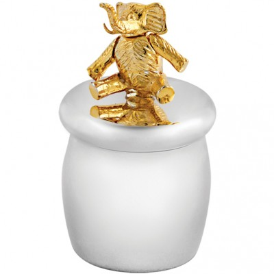 Tooth Fairy Box With Gold Plated Moving Elephant Sterling Silver