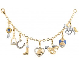 Gold Plated Equestrian Charm Bracelet With Crystals