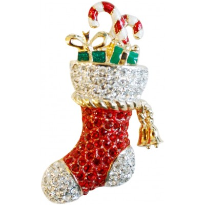 Gold Plated Christmas Stocking Brooch With Austrian Crystals