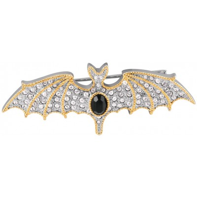 Rhodium Plated Crystal Bat Brooch