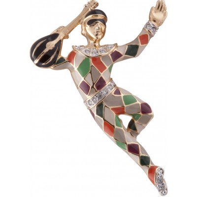 Gold Plated Metal Alloy And Austrian Crystal Harlequin Brooch