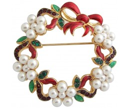 Gold Plated Christmas Wreath Brooch